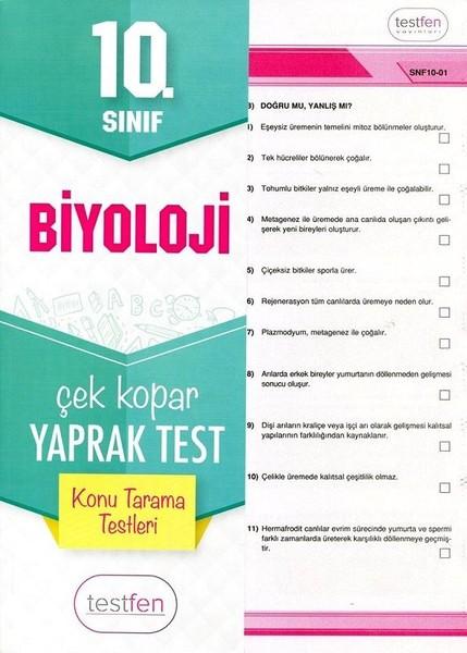10. Sınıf Biyoloji Konu Tarama Yaprak Testleri kitabı